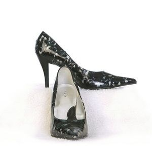 Shoes - Fioni Black Silver Pointed Toe Heel Size 8 Wide
